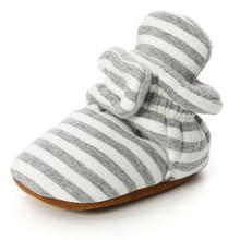 Детские носки обувь в полоску для мальчиков и девочек, пинетки для новорожденных, начинающих ходить, хлопковые удобные мягкие Нескользящие ...(China)