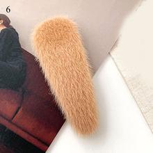 1 шт. квадратные заколки для волос из искусственного меха с плюшевыми шариками осень-зима мягкие однотонные заколки аксессуары для волос За...(Китай)