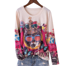 Женская футболка с круглым вырезом, длинным рукавом и цветочным принтом, базовая Весенняя футболка, 4XL 5XL 2020(China)
