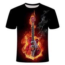 Новинка 2020! Мужская 3d футболка с цветным пламенем, черная футболка с 3d принтом, Повседневная футболка с коротким рукавом из аниме Camiseta Streatwear(Китай)