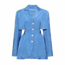 TWOTWINSTYLE элегантные открытые пиджак-блейзер для мальчика для женщин с насечкой, с длинным рукавом, Waistless тонкий кожаный пиджак женский 2020 летн...(Китай)