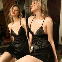 Летняя сексуальная ночная рубашка на бретелях, женская ночная рубашка с глубоким v-образным вырезом и открытой спиной, кружевная газовая Со...(Китай)
