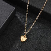 Abdoabdo Ретро Личность Сердце ожерелье табличка начальная ожерелье сплав простые Подвески ожерелье s колье до ключиц цепь золото(Китай)