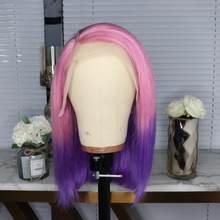 613 красный цвет 13х6 короткие кружевные передние человеческие волосы парики 150% плотность бразильские Remy человеческие волосы прямые боб пари...(Китай)