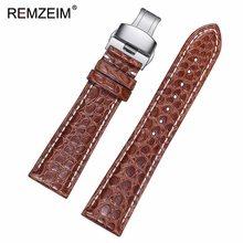 Ремешок для часов из крокодиловой кожи ручной работы REMZEIM 18 19 20 21 22 мм ремешок из крокодиловой кожи с автоматической пряжкой-бабочкой(Китай)