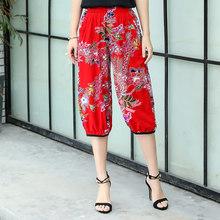 Boho повседневные летние шаровары пляжные укороченные брюки свободного покроя с принтом размера плюс женские винтажные черные брюки(Китай)
