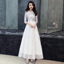 Платье для выпускного с пайетками, сверкающее, с круглым вырезом, женские вечерние, серебристые, белые, с коротким рукавом, Vestidos De Fiesta(Китай)