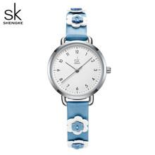Shengke женские часы с креативными цветами кожаные кварцевые часы с цветами 3 АТМ водонепроницаемые женские наручные часы Montre Femme(China)
