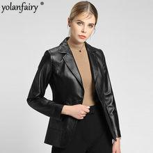 Новинка 2020, женская кожаная куртка из 100% овечьей кожи, приталенная куртка из натуральной кожи, короткий Блейзер, кожаная куртка для женщин, ...(Китай)