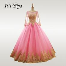It's YiiYa свадебное платье Золотое кружевное розовое свадебное платье с круглым вырезом es размера плюс с длинным рукавом мусульманское Vestido de ...(China)