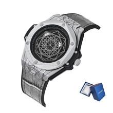 Мужские креативные часы Cagarny, роскошные Брендовые мужские кварцевые часы с кожаным резиновым ремешком, спортивные наручные водонепроницае...(Китай)