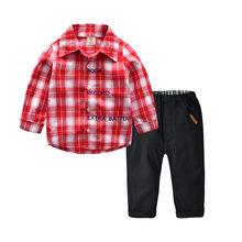 Одежда Mardi gras, новая модная клетчатая футболка в джентльменском стиле с буквенным принтом для маленьких мальчиков, комплект из топа и штанов(Китай)