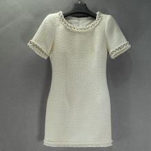 Итальянское подиумное шерстяное твидовое белое платье для женщин с жемчужинами и бисерным воротником облегающее платье для свадебной вече...(Китай)