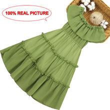 Платье для девочек однотонные вечерние платья с открытыми плечами для детей, летнее праздничное платье для девочек вечерние платья детская...(Китай)