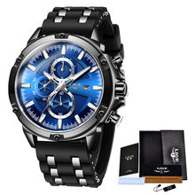 LIGE мужские спортивные часы, мужские водонепроницаемые наручные часы, кварцевые часы для мужчин, люксовый бренд, силиконовый ремешок, мужски...(Китай)