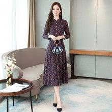 Винтажные женские платья миди с принтом, Осень-зима, 4XL размера плюс, платье с цветочным принтом и длинным рукавом, элегантные женские облега...(Китай)