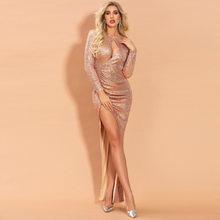 Сексуальные вечерние платья с высоким разрезом, расшитые блестками, с открытой спиной, розовое золото, Русалочка, Бордовое платье для выпус...(Китай)