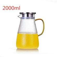 1500/2000 мл, прозрачный стеклянный кувшин для воды, чайник, термостойкий карамовый сок, чайный горшок, кувшин с фильтром из нержавеющей стали(Китай)