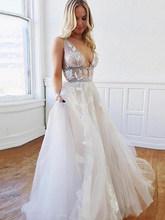 Лори принцесса свадебное платье сексуальное v-образным вырезом Бохо свадебные платья невесты слоеного тюля длиной до пола Свадебные платья...(China)