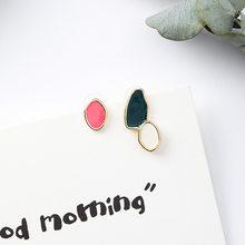 Женские асимметричные серьги-гвоздики с разноцветной эмалью, круглые серьги геометрической формы овальной формы в винтажном стиле, подарк...(Китай)