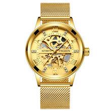 Горячая Распродажа, роскошные золотые мужские часы с хронографом из нержавеющей стали, автоматические часы с датой, мужские деловые кварце...(Китай)