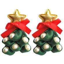 Рождественские серьги-гвоздики в форме звезды и дерева, стразы, серьги-гвоздики, аксессуары для одежды, индивидуальный дизайн(Китай)