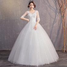 Элегантное свадебное платье размера плюс с коротким рукавом, v-образным вырезом, аппликацией, кружевами, бальное платье, дешево, иллюзия, пла...(Китай)
