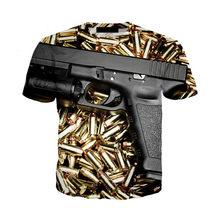 Футболка с 3D-принтом в виде пистолета, уличная одежда с принтом пистолета для мужчин и женщин, летние топы в стиле хип-хоп, модная футболка с ...(Китай)