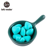 Давайте сделаем BPA бесплатно 50 шт силиконовые бусины сердце прорезывание зубов DIY аксессуары-погремушки Монтессори игрушки Силиконовые Дет...(Китай)