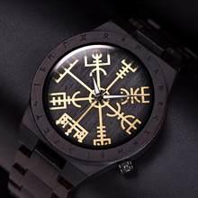 Мужские деревянные часы ручной работы reloj hombre BOBO BIRD, круглые часы с золотым рулем Awe или Vegvisir, кварцевые наручные часы для мужчин(Китай)