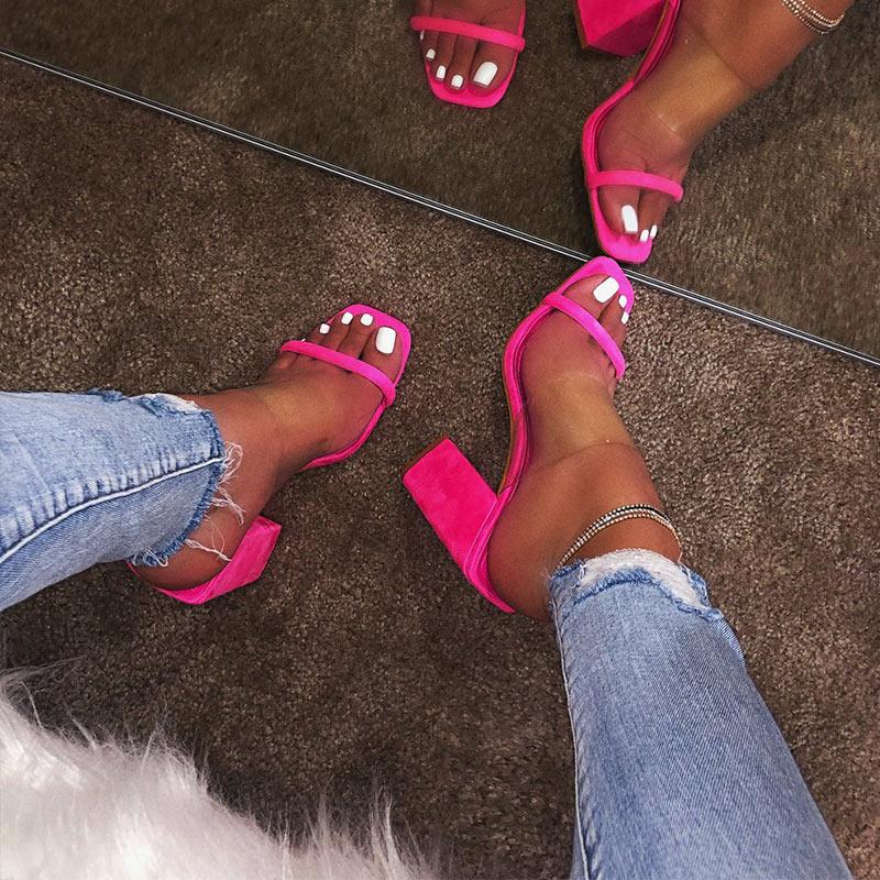 SHUJIN/женские прозрачные босоножки; женские шлепанцы на высоком каблуке; яркие цвета; женские шлепанцы с открытым носком на толстом каблуке; м...(Китай)