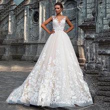 2020 Элегантное свадебное платье А-силуэта, сексуальное платье с глубоким v-образным вырезом и открытой спиной, 3D Цветочная Кружевная апплика...(China)