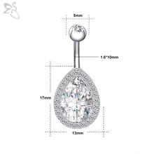 ZS 5-6 шт./лот, блестящее циркониевое кольцо для пупка Хирургическая сталь пупка Пирсинг 14g сексуальное пупка Кольца пирсинг 5/8 мм шар Nombril(Китай)