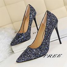 LIN KING/Роскошная Свадебная обувь; женские туфли-лодочки; пикантная обувь для стриптиза на высоком каблуке золотистого и серебристого цвета; о...(Китай)