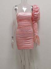 Женское мини-платье с рюшами JillPeri, розовое платье с вырезом лодочкой на одно плечо, с жемчужными сетчатыми рукавами-фонариками, вечерние пла...(Китай)