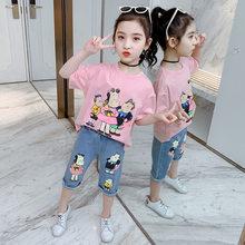 Летняя одежда для девочек-подростков 2020, футболка со смайликом, джинсовые шорты, Капри, повседневные наряды на 3, 4, 5, 6, 7, 8, 9, 10, 11, 12 лет(Китай)