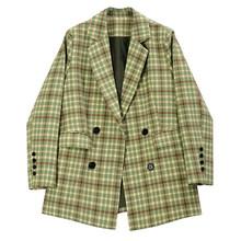Женский двубортный Блейзер EAM, Зеленый Блейзер в клетку с отворотом и длинным рукавом, модная куртка свободного кроя, весна-осень 2020, 1R730(Китай)
