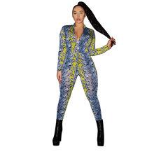 ANJAMANOR неоновая змеиная кожа размера плюс с длинным рукавом Bodycon комбинезон сексуальная одежда One Peice клубный наряд ночной комбинезон D29-AF79(Китай)