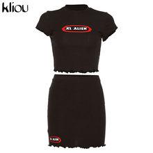 Комплект из двух предметов Kliou, Хлопковое платье-мини с коротким рукавом и принтом в виде листика лотоса, для лета, 2020(Китай)