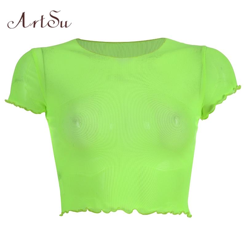 ArtSu Летняя Сексуальная женская футболка прозрачные сетчатые Топы с длинным рукавом Прозрачная женская футболка Femme ASTS21447(Китай)