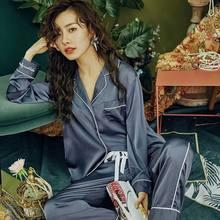 Новый пижамный комплект из 2 предметов, атласная Шелковая пижама для женщин, однотонная Пижама, сексуальные пижамы для девочек, Повседневна...(Китай)