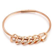 Персонализированные браслеты из нержавеющей стали цвета розового золота с сердечками на заказ с Выгравированными именами для мам и детей(Китай)