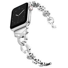 Ремешок из нержавеющей стали с бриллиантом для Apple Watch, 38 мм, 42 мм, 40 мм, 44 мм, браслет для женщин, ремешок для часов iWatch серии 4, 3, 2, 1(China)