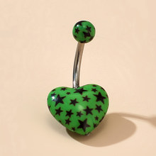 Tocona, Трендовое кольцо с цветным сердцем и звездой, сексуальное кольцо с пуговицами для живота для женщин, женские ювелирные изделия из сплав...(Китай)