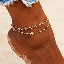Женский браслет на ногу со звездами Boho, многослойный золотой браслет на ногу с кристаллами, пляжные украшения, аксессуары, 2020(Китай)