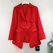 [EAM] женский красный Асимметричный Блейзер большого размера, новая свободная куртка с отворотом и длинным рукавом, модная демисезонная курт...(Китай)