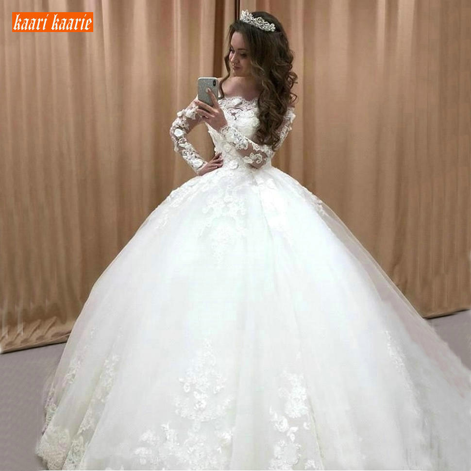 Gorgeous Princess Wedding Gowns Long Sleeves Lace Appliqus Church Formal Bride Dresses Tulle Ball Gown Bridal Dress Custom Made Wedding Dresses Aliexpress