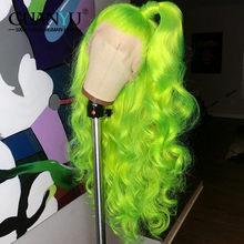 13X4/6 розовый кружевной передний парик человеческие волосы 150 плотность бразильский Реми Омбре блонд 613 красный зеленый синий фиолетовый ора...(Китай)