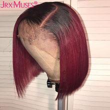 Цветной парик Боб, кружевные передние парики, короткий Боб, парик 13х6, кружевные передние человеческие волосы, парики для черных женщин, прел...(Китай)