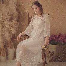 Женская винтажная длинная ночная рубашка из мягкого модала, осенняя красивая белая кружевная пижама с длинным рукавом, пикантная сорочка, д...(Китай)